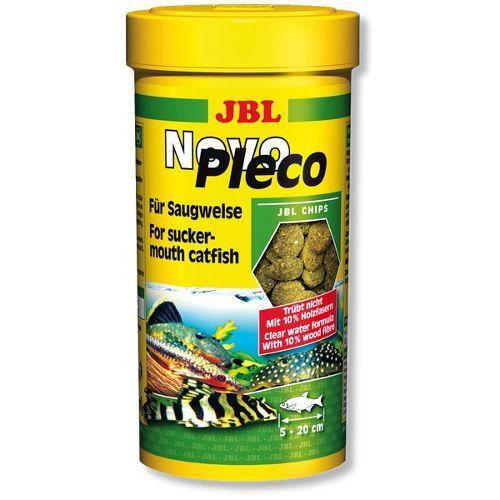 Корм для рыб JBL JBL NovoPleco Водорослевые чипсы с примесью целлюлозы для кольчужных сомов, 250мл корм для рыб jbl novogranocolor основной в форме гранул для яркой окраски рыб в банке 250мл 120г