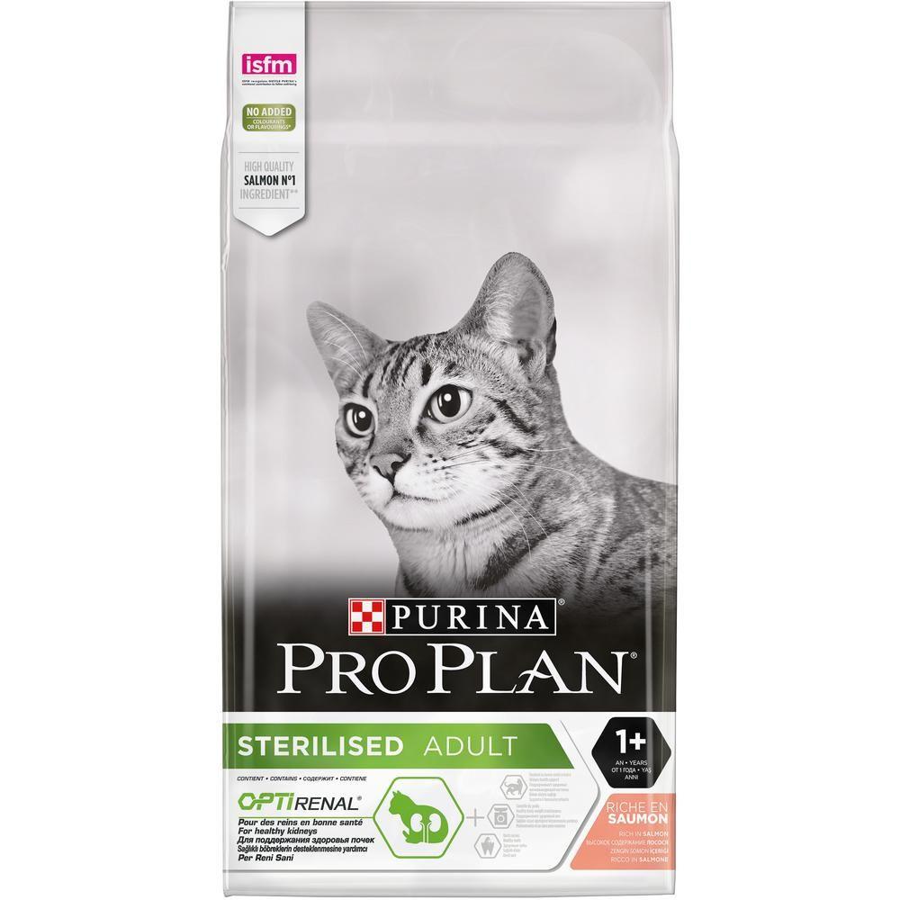 Корм для кошек Pro Plan для стерилизованных и кастрированных лосось сух.10кг корм для кошек pro plan для стерилизованных и кастрированных лосось сух 1 5 кг