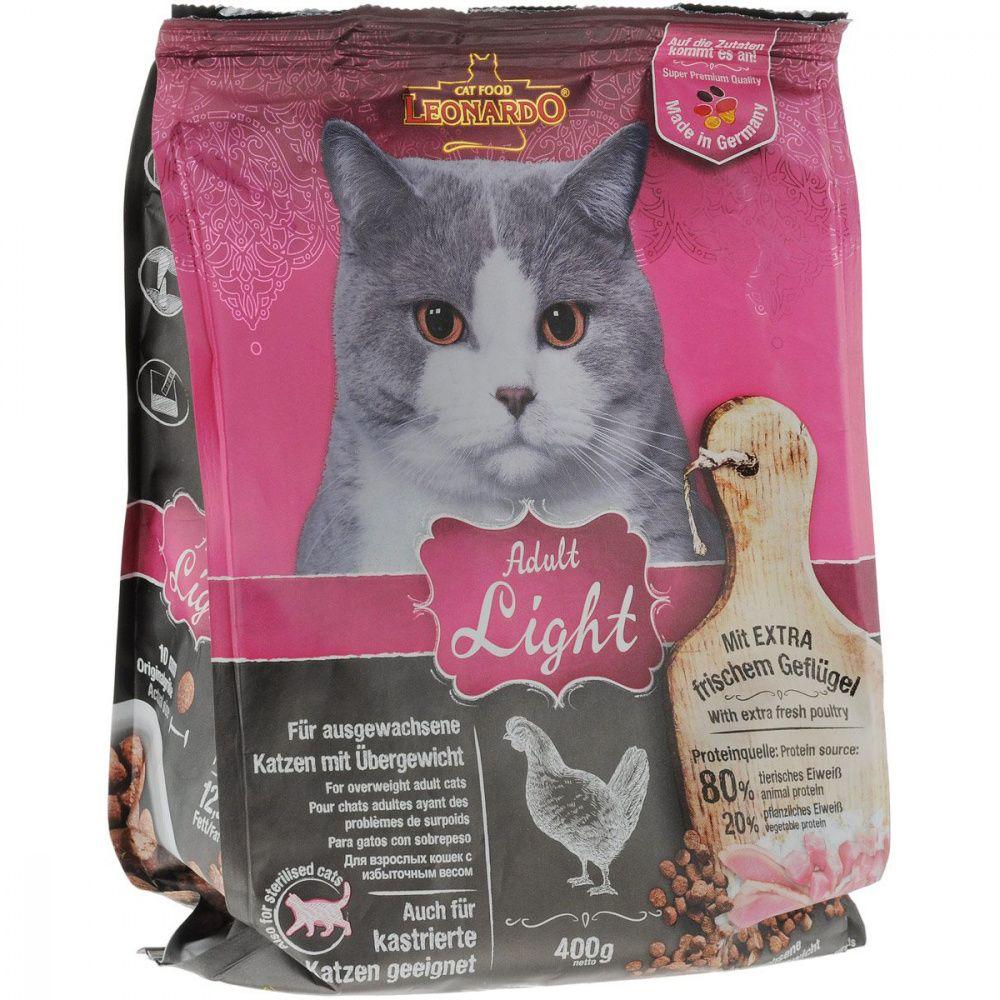 Корм для кошек Leonardo для кастрированных и стерилизованных, с избыточным весом, птица сух. 400г цена и фото