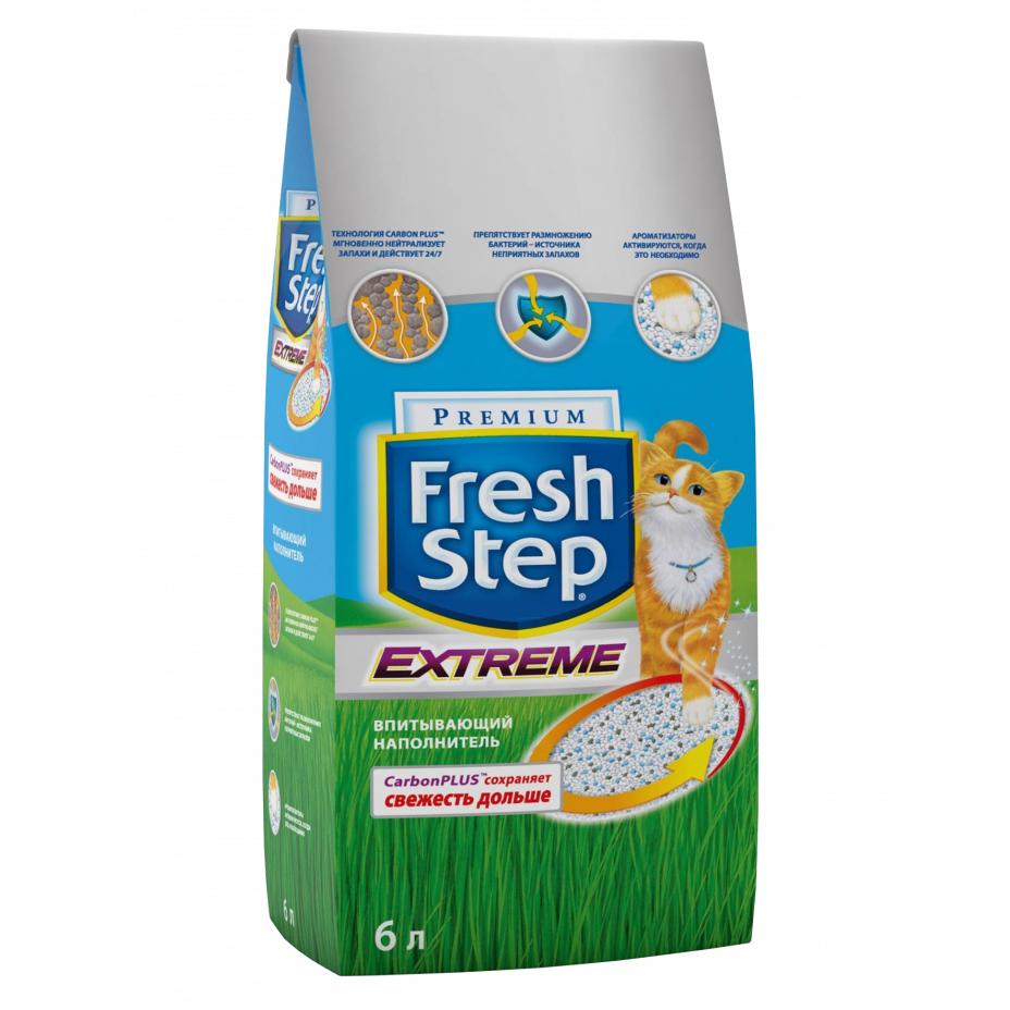 Наполнитель для кошачьего туалета Fresh Step с тройным контролем запаха впитывающий 6 литров