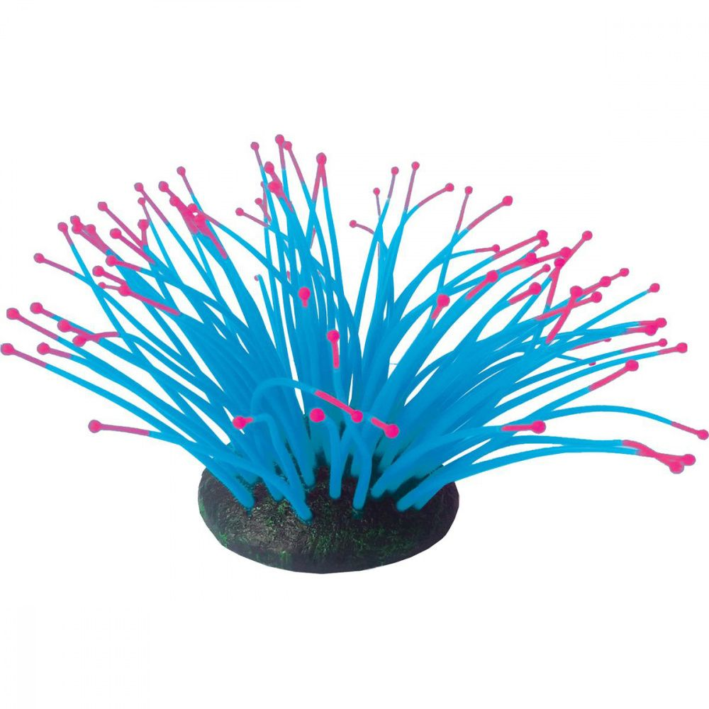 Декор для аквариумов JELLYFISH Коралл Актиния светящийся голубой 9,5х8,5х9см цена и фото