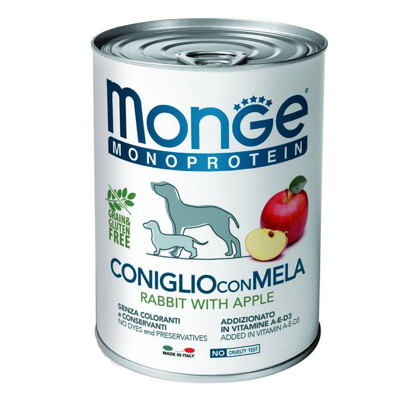 Корм для собак Monge Monoproteico Fruits паштет кролик, рис, яблоки конс. 400г фото