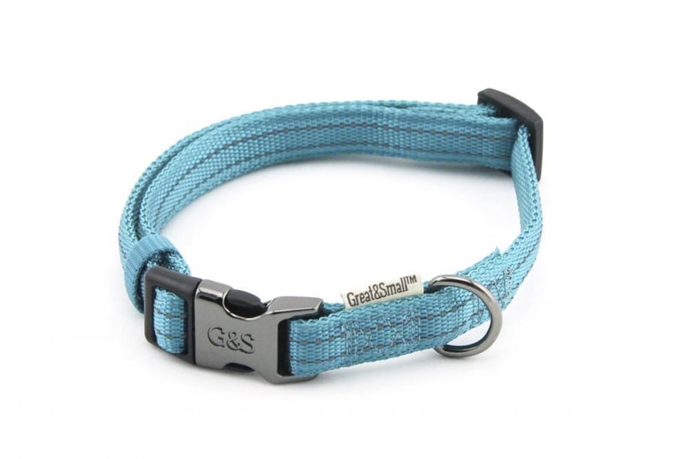 Ошейник для собак Great&Small со светоотражающей острочкой 25х450-650мм нейлон бирюзовый фото