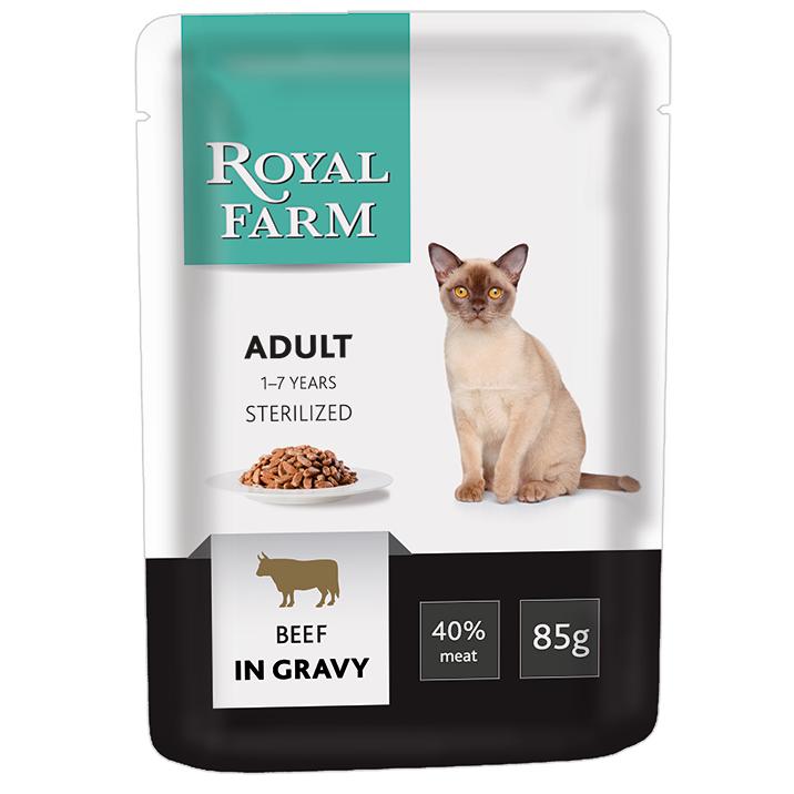 цена Корм для кошек ROYAL FARM для стерилизованных, говядина в соусе пауч 85г онлайн в 2017 году
