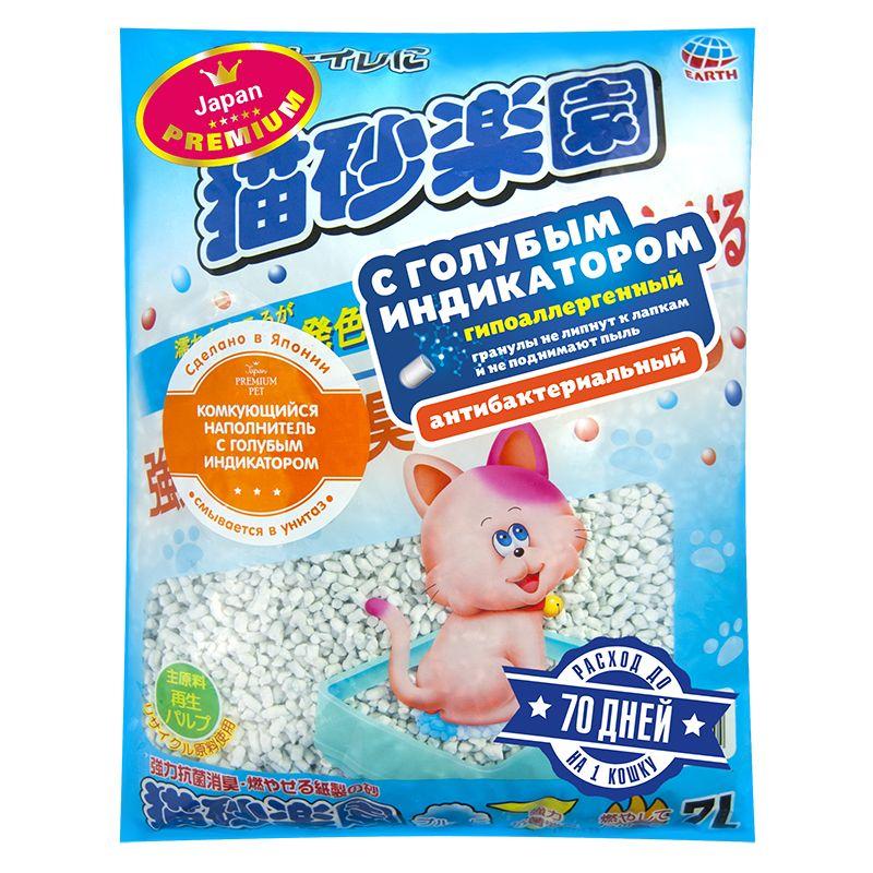 Наполнитель для кошачьего туалета Japan Premium Pet ультракомкующийся с голубым индикатором, 7л