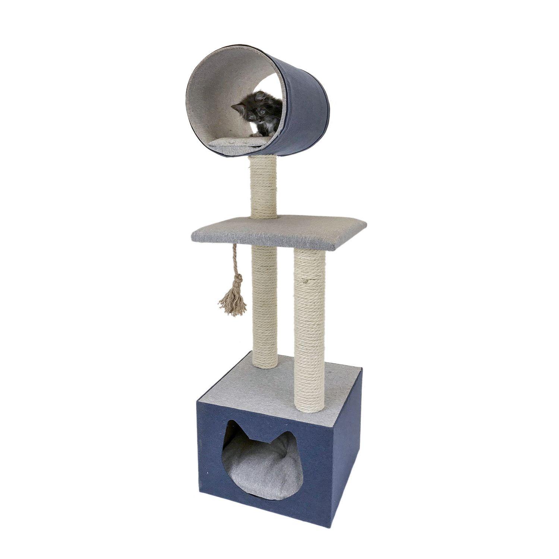 Когтеточка для кошек Foxie Домик с двумя столбиками и тоннелем 35х35х120см синий