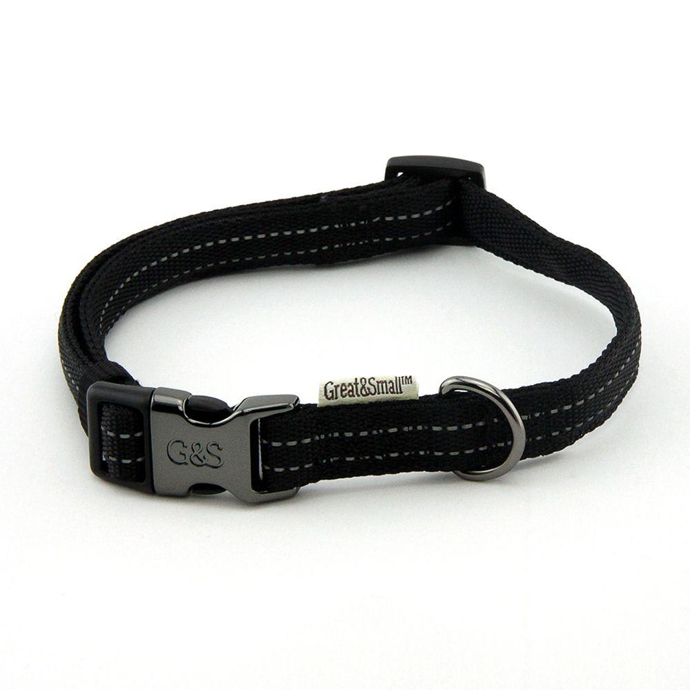 Ошейник для собак Great&Small со светоотражающей острочкой 10х200-350мм нейлон черный фото