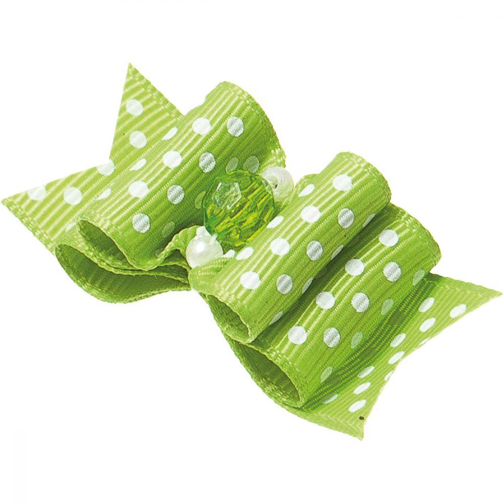 цены Бантик V.I.PET Ностальжи (пара) зеленый в горошек, тройной объёмный 5,5х2,2см