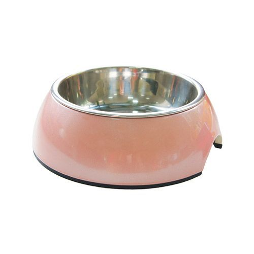 Миска для животных SUPER DESIGN на меламиновой подставке розовый перламутр 160мл