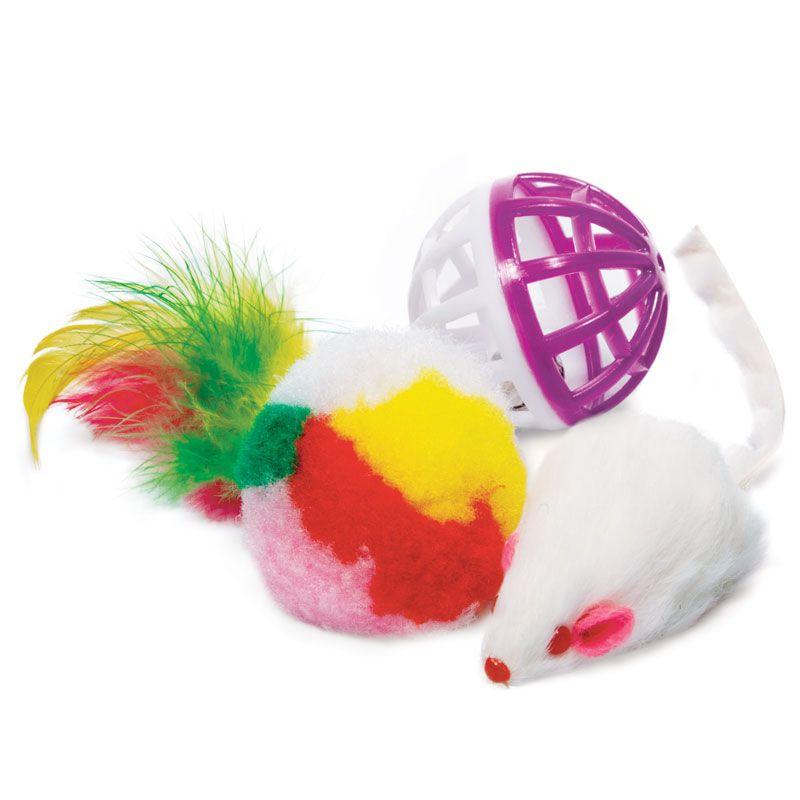 Игрушка для кошек TRIOL Набор мяч, мышь, шар d40мм; 45мм; d40мм