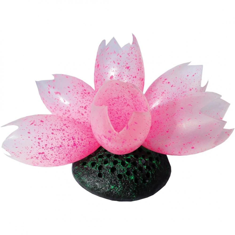Декор для аквариумов JELLYFISH Лотос светящийся розовый с эффектом пузырьков 11х8х12см