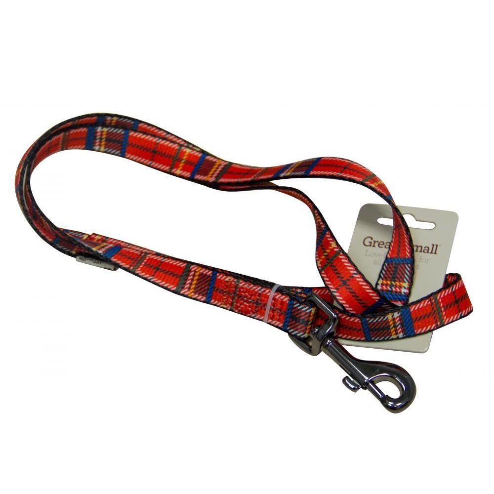 Поводок для собак Great&Small 10х1200мм красная шотландка поводок для собак great