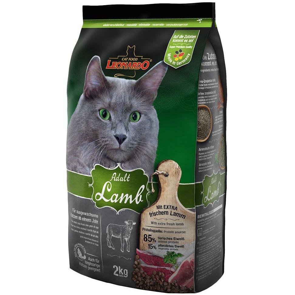 Корм для кошек Leonardo для склонных к аллергии, ягненок с рисом сух. 2кг