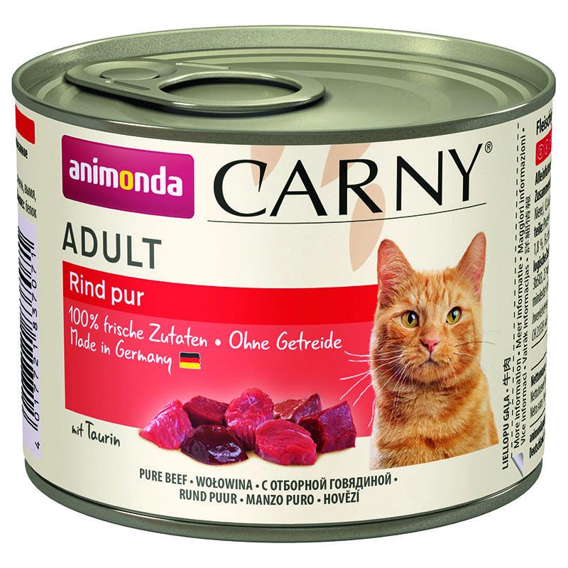 Корм для кошек Animonda CARNY ADULTс отборной говядиной для взрослых кошек конс. 200гр корм для котят animonda carny kitten курица кролик конс 200г