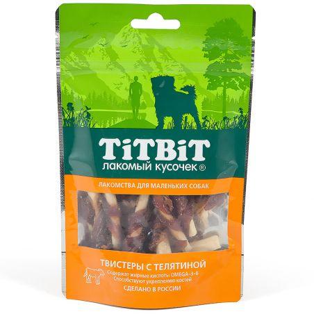 Лакомство для собак TITBIT Твистеры с телятиной для мелких пород 50г лакомство для собак titbit легкое телячье для мелких пород 50г