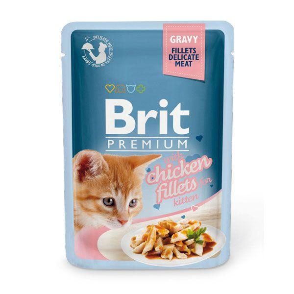 цена Корм для котят Brit Premium Cat Gravy Кусочки из куриного филе в соусе пауч 85г онлайн в 2017 году