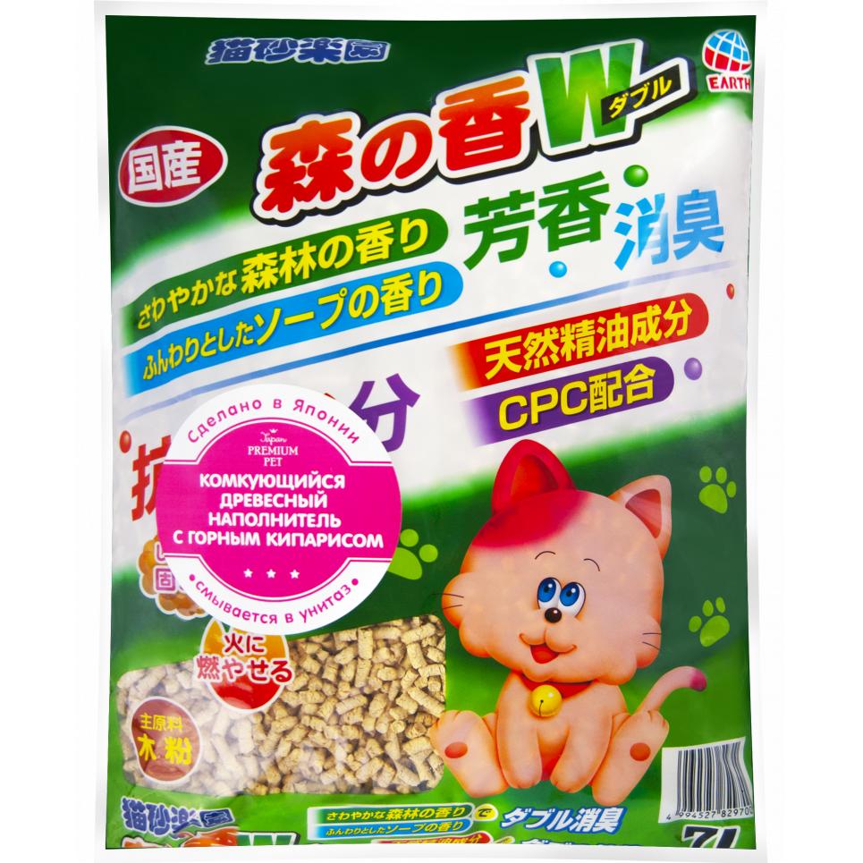 Наполнитель для кошачьего туалета Japan Premium Pet ультракомкующийся древесно-целлюлозный с кипарисом, 7л