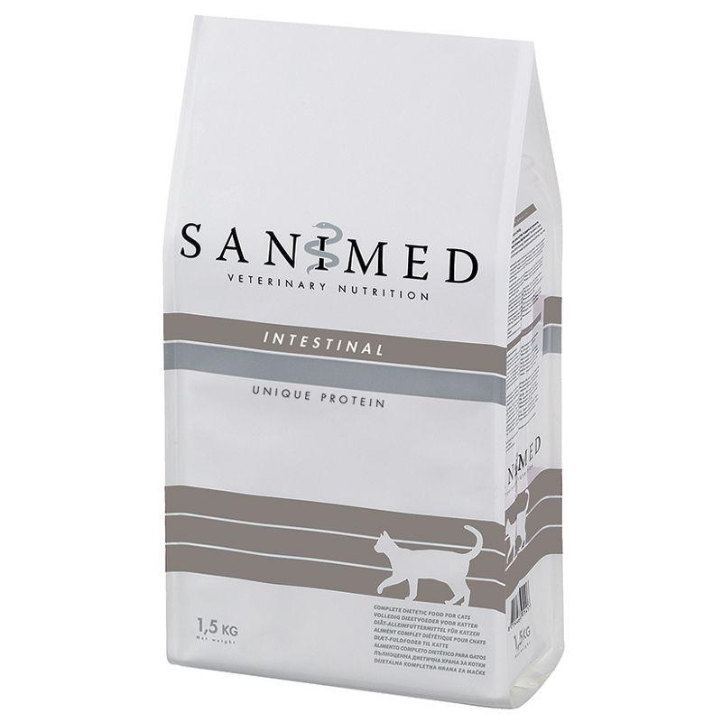 Корм для кошек SANIMED cat Intestinal при нарушении пищеварения, сух. 1,5кг корм для собак sanimed dog skin sensitive при пищевой аллергии сух 12 5кг