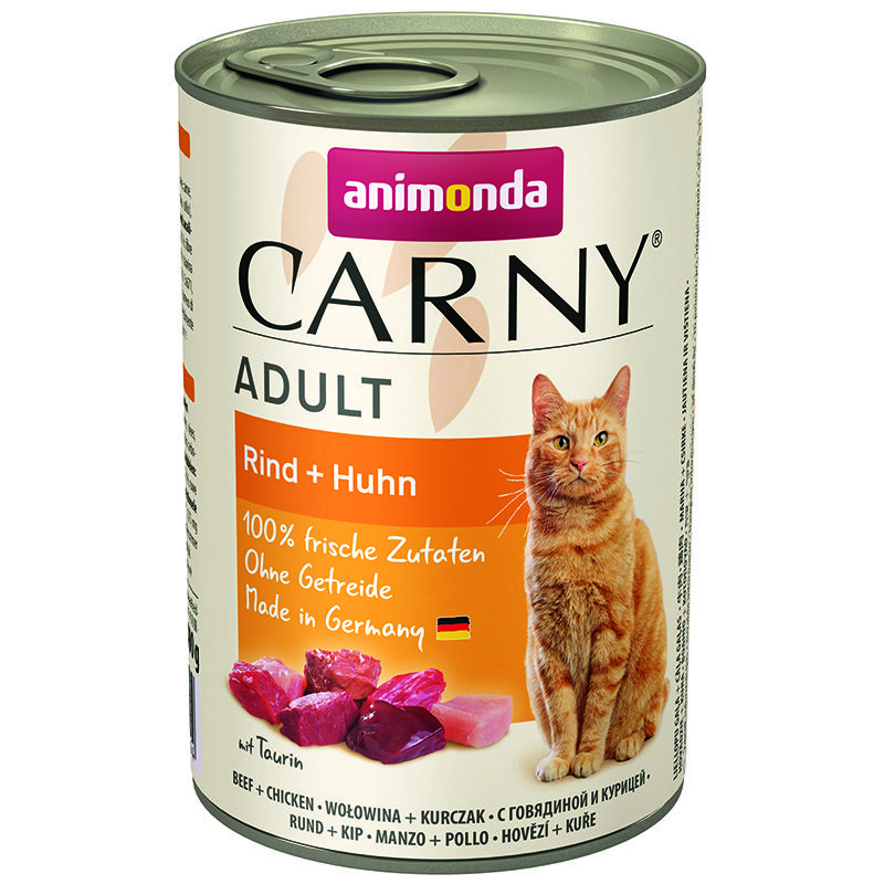 Корм для кошек Animonda Carny Adult говядина, курица конс. 400г корм для котят animonda carny kitten курица кролик конс 200г