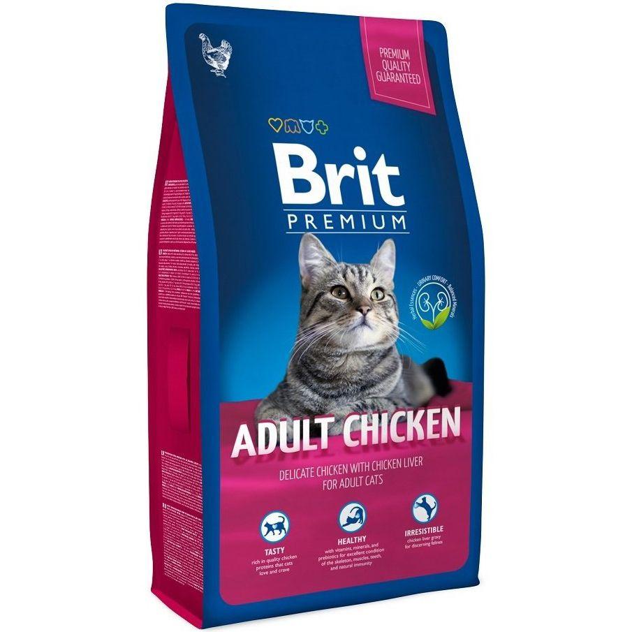 Корм для кошек Brit Premium Cat мясо курицы, куриная печень сух. 1,5кг