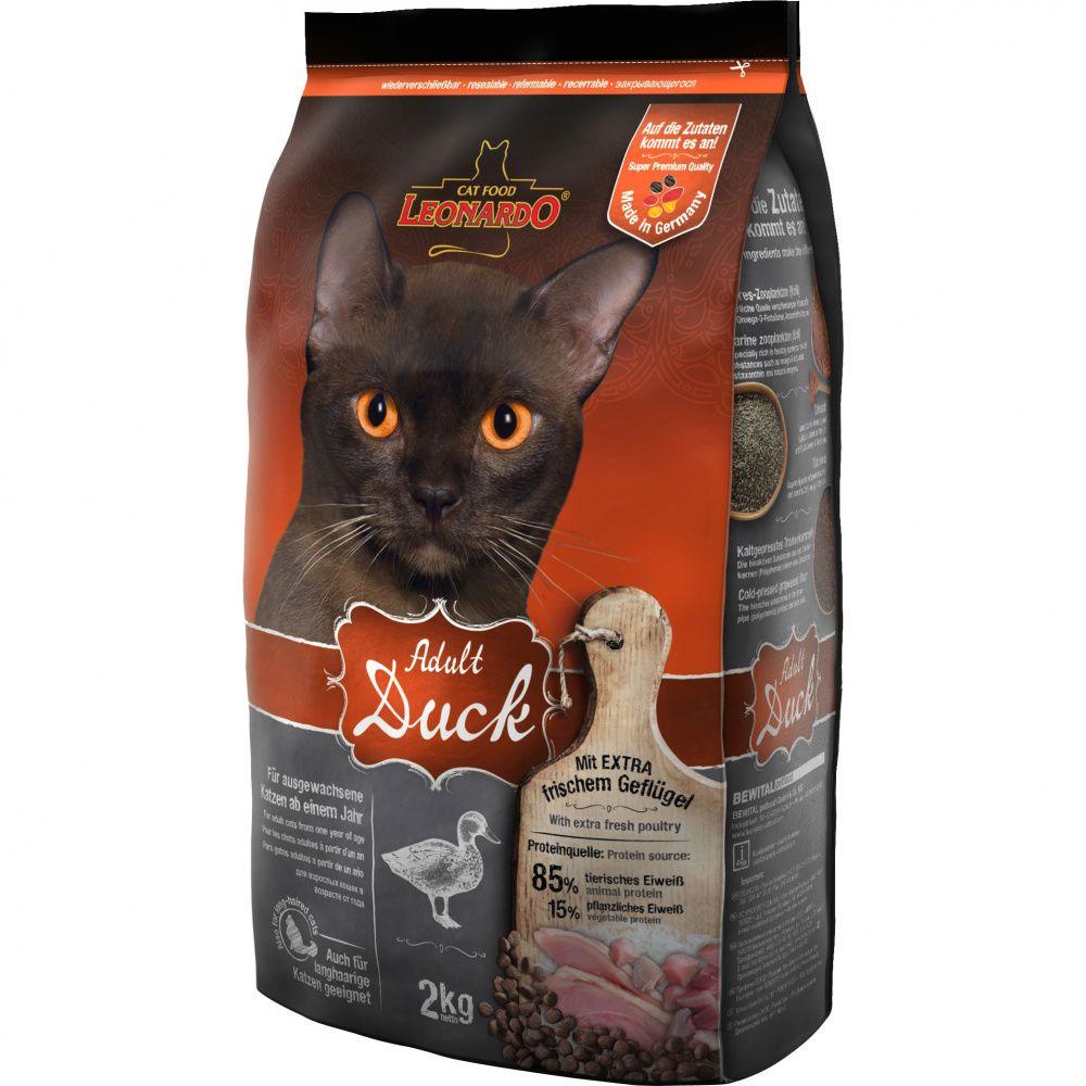 цена на Корм для кошек Leonardo для облегчения вывода шерсти из желудка, утка с рисом сух. 2кг