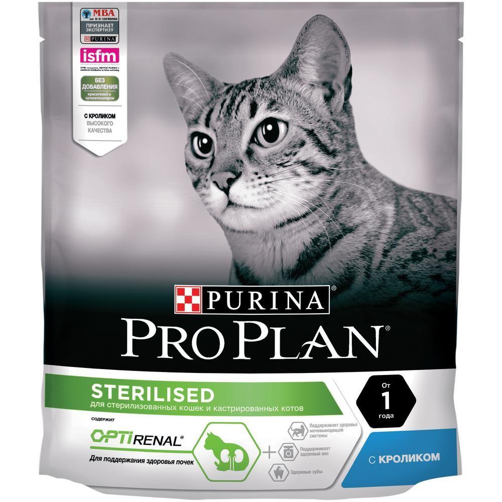 Корм для кошек Pro Plan для стерилизованных и кастрированных кролик, курица сух. 400г корм для кошек pro plan для стерилизованных и кастрированных лосось сух 1 5 кг