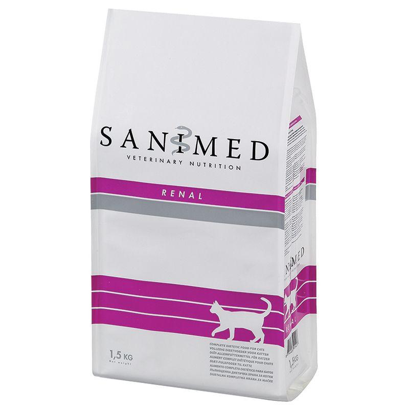 Корм для кошек SANIMED cat Renal при почечной недостаточности сух. 1,5кг корм для собак sanimed dog skin sensitive при пищевой аллергии сух 12 5кг