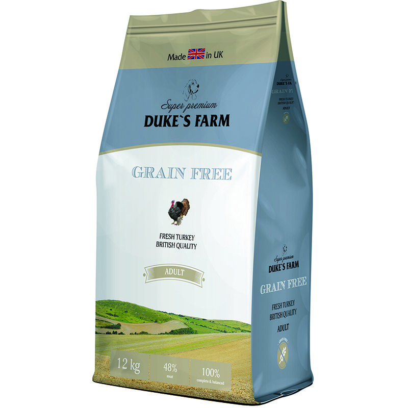 цена на Корм для собак DUKE'S FARM беззерновой, индейка сух. 12кг