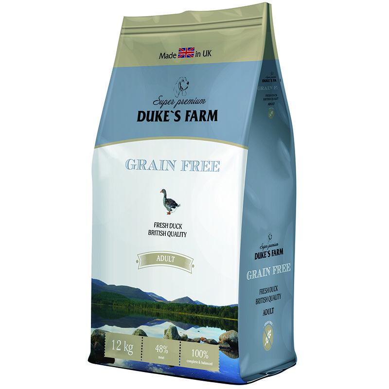 цена на Корм для собак DUKE'S FARM беззерновой, утка сух. 12кг