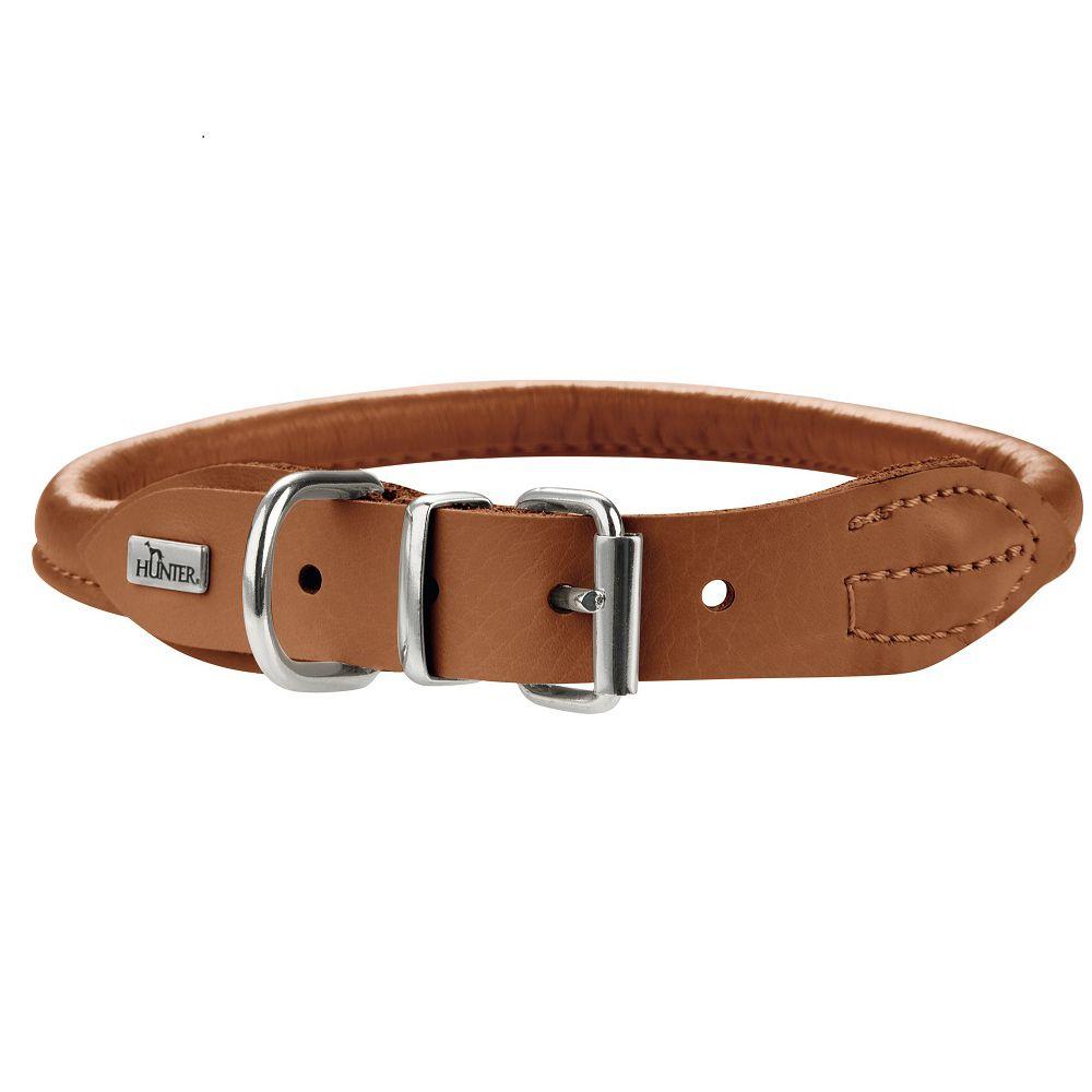 Ошейник для собак HUNTER Round & Soft Elk 37/6 (30-33см), коньяк, кожа лося ошейник для собак hunter round