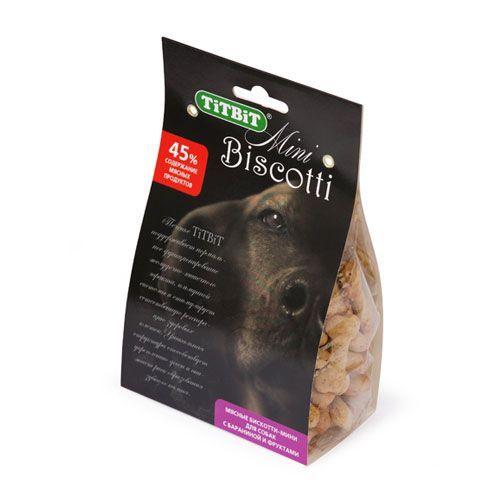 цены на Лакомство для собак TITBIT Печенье Бискотти-мини с бараниной и фруктами  в интернет-магазинах