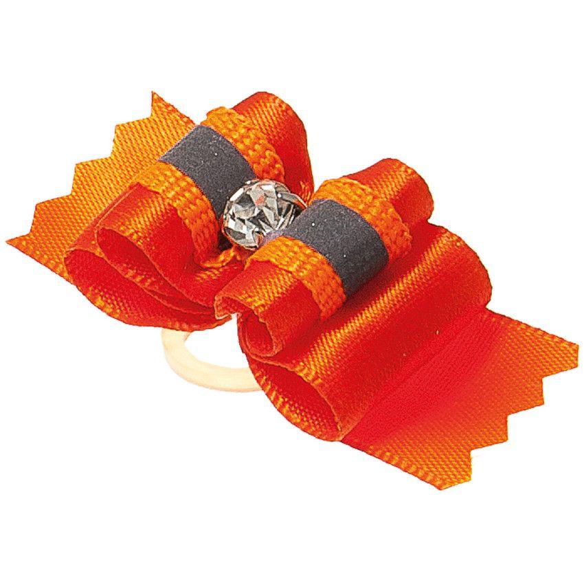Бантик V.I.PET (пара) Ностальжи светоотражающий тройной объёмный (оранжевый) 4,5х1,5см