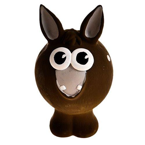 Игрушка для собак Foxie Ослик с пищалкой 13х7,5х7,5см латекс коричневый