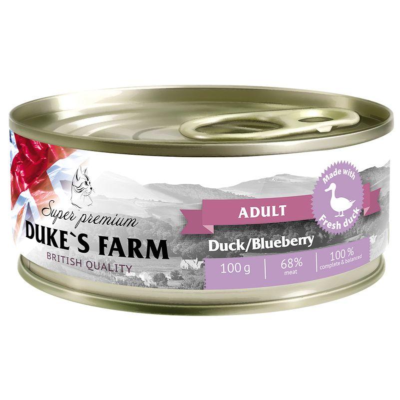 Корм для кошек DUKE'S FARM Утка, черника конс. 100г
