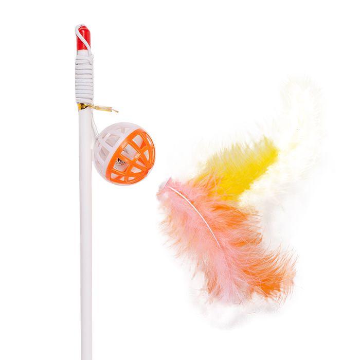 Игрушка для кошек ГРЫЗЛИК АМ Дразнилка-удочка погремушка с перьями, пластик 3.5х55см