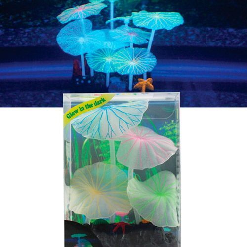 Декор для аквариумов JELLYFISH Листья лотоса голубые силиконовые (9шт) 9х7х11см