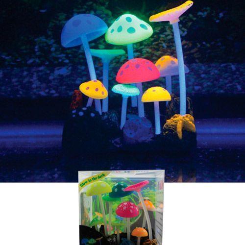 Декор для аквариумов JELLYFISH Грибы разноцветные силиконовые, с узорами 9х7х11см декор для аквариумов jellyfish листья лотоса голубые силиконовые 4шт 7х3 5х10см