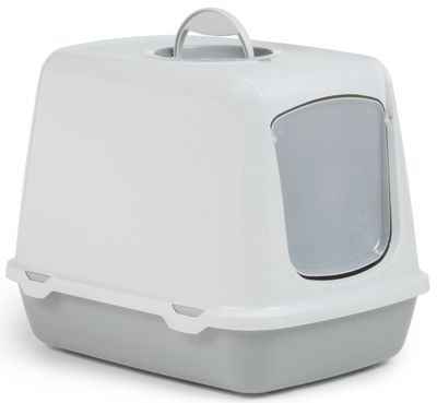 Туалет-домик для кошек Beeztees Oscar серый 50х37х39см