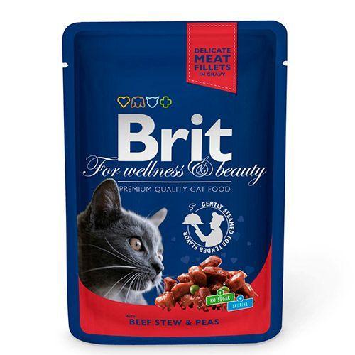 купить Корм для кошек Brit Premium Cat Говядина и горошек конс. пауч дешево