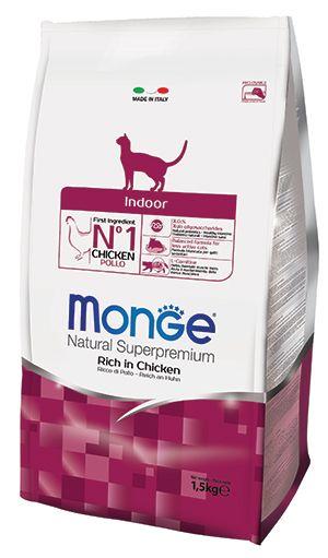 Корм для кошек Monge Cat Indoor для домашних кошек сух. 1,5кг для кошек гемобаланс
