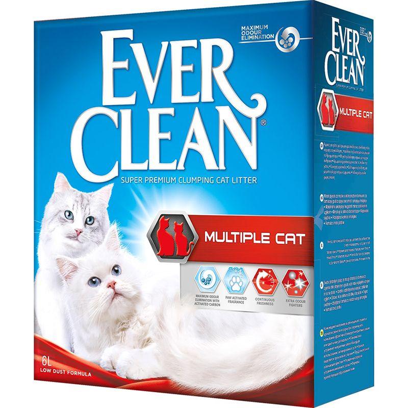Наполнитель для кошачьего туалета EVER CLEAN Multiple Cat комкующийся для нескольких кошек 6 литров наполнитель для кошачьего туалета ever clean aqua breeze комкующийся аромат морской бриз 10л