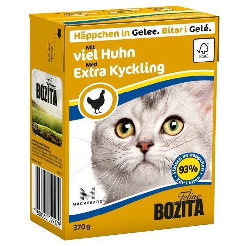 Корм для кошек BOZITA Рубленая Курица кусочки в желе конс. 370г корм для кошек mjau мясные кусочки в желе с куриной печенью конс 380г