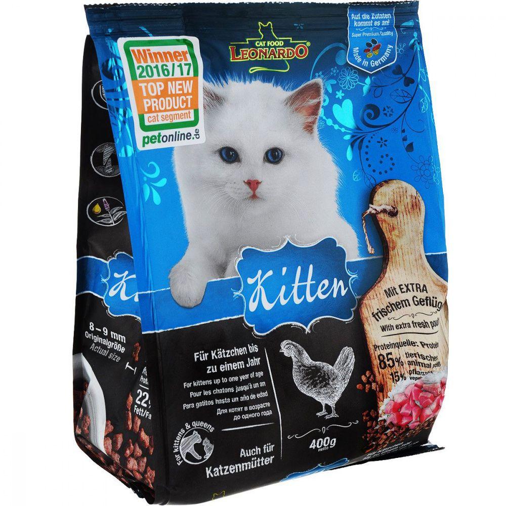 Корм для котят, беременных и кормящих кошек Leonardo Курица сух. 400г стоимость