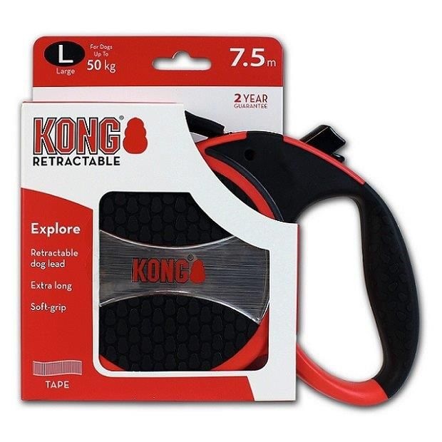 Рулетка для собак KONG Explore L (до 50кг) лента 7,5м красная