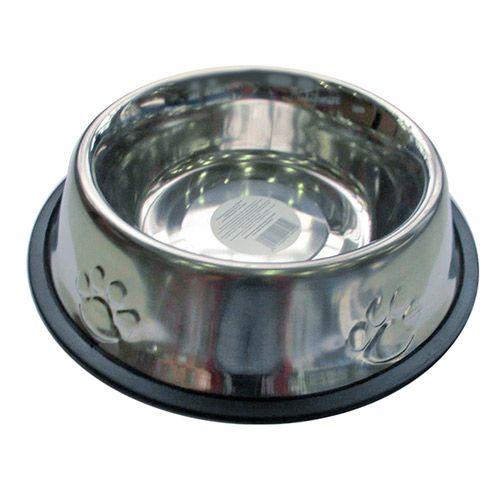 Миска для животных ХОРОШКА Embossed SS Non Tip металлическая, для корма и воды 0,7л миска для животных хорошка anti skid designer bone металлическая для корма и воды черная 0 9л