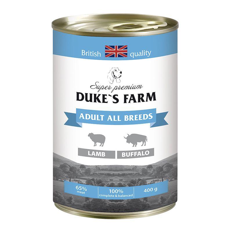 Корм для собак DUKE'S FARM ягненок, буйвол конс. 400г