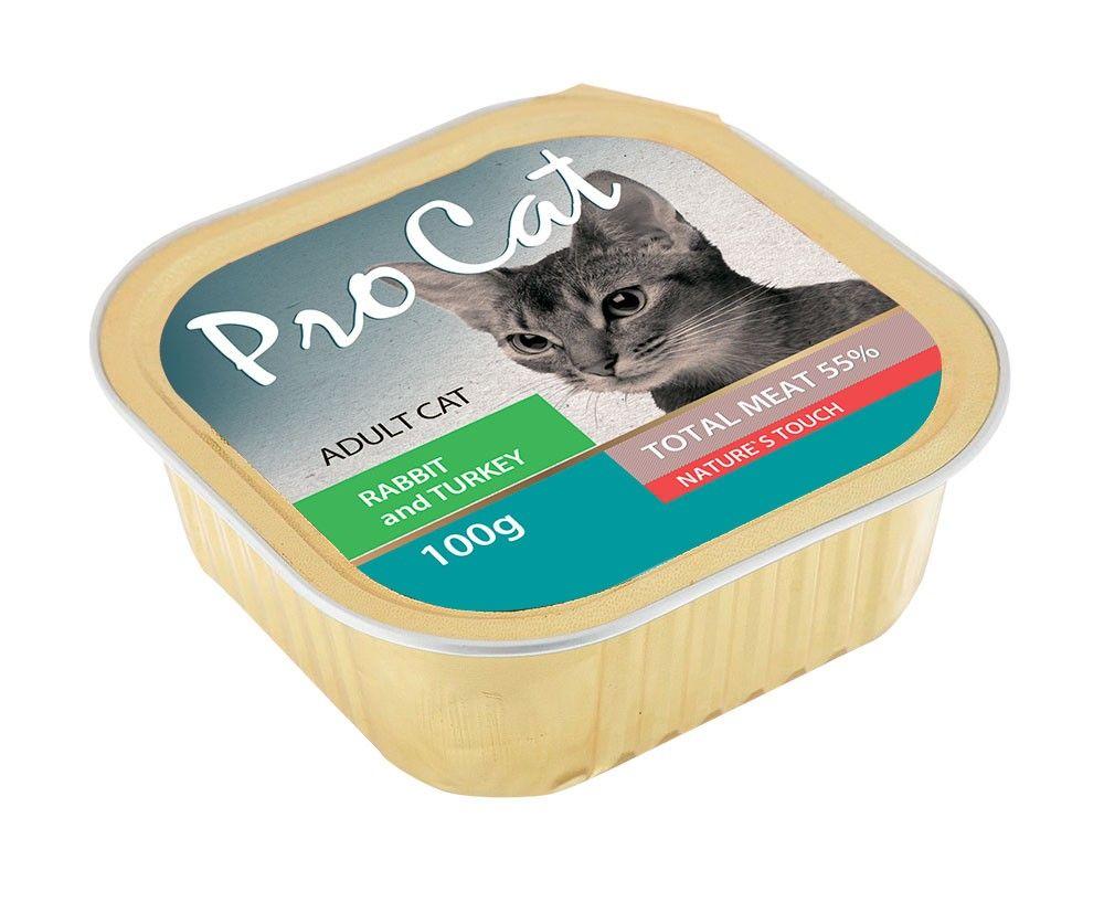 Корм для кошек Pro Cat кролик и индейка конс. 100г корм для собак pedigree кролик индейка конс 100г