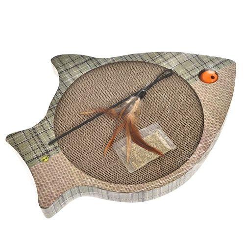 Когтеточка для кошек Foxie Рыбка картон 42х33,5х4см серо-зеленая