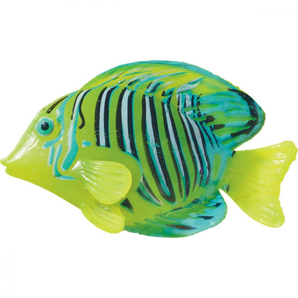 Декор для аквариумов JELLYFISH Рыба силиконовая Хирург мал. с неоновым эффектом 9,7х14х2,5см