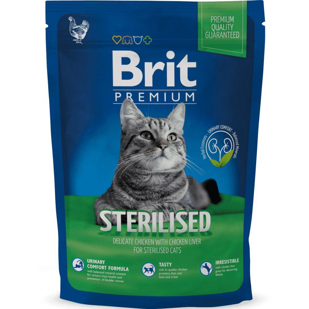 Корм для кошек Brit Premium Cat Sterilised для кастрированных котов, курица, куриная печень сух.300г
